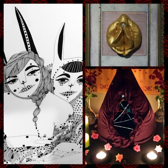 Tryck 1 av Amanda Ravandoni. Klitoris Pluralis av Anna Due. YoniTempel av SaraLo Serra Nilsson.