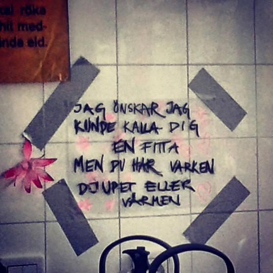 Fint skrivet på Cyklopen i Högdalen. Fotograf: Toria Victoria